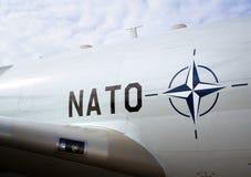 NATO airplane. NATO DAYS, OSTRAVA, CZECH REP - SEPTEMBER 18, 2016: Symbol of NATO North Atlantic Treaty Organization on the side of fuselage of big gray airplane royalty free stock photo