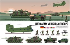 NATO Army war military set with tank, helicopter, troopers soldiers, armored car, carrier in forest camouflage & battle scene natu. NATO Army war military Royalty Free Stock Photography