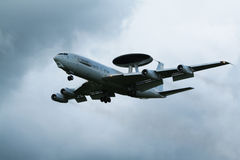 NATO AWACS radar airplane. LEEUWARDEN, THE NETHERLANDS - JUNE 19: NATO E-3 Sentry AWACS landing at Leeuwarden airbase for display at the Royal Dutch Air Force Stock Photography