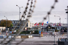 NATO. BRUSSELS, BELGIUM - OCTOBER 2014: Barbed wire in front of NATO Headquarters, the political and administrative centre of the Alliance stock image