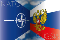 NATO contro le bandiere della Russia Immagine Stock Libera da Diritti