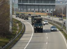 NATO convoy. PRAGUE - MARCH 25, 2017: The convoy of American and British NATO troops, during the move from Germany to Poland stock images