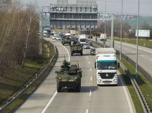 NATO convoy. PRAGUE - MARCH 25, 2017: The convoy of American and British NATO troops, during the move from Germany to Poland royalty free stock photo