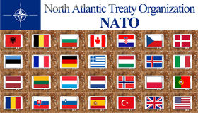 NATO countries flags Royalty Free Stock Photography