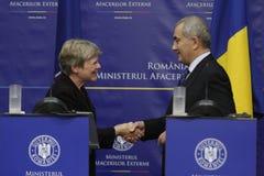 NATO Deputy Secretary General Rose Gottemoeller. BUCHAREST, ROMANIA  - November 07, 2016: NATO Deputy Secretary General Rose Gottemoeller shakes hands with Royalty Free Stock Photo