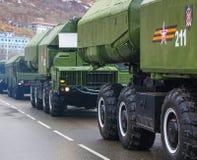 NATO för 9K720 som Iskander anmäler stenen för namnet SS-26, är en mobil Arkivbild