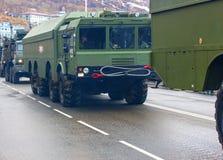 NATO för 9K720 som Iskander anmäler stenen för namnet SS-26, är en sh mobil Royaltyfri Bild