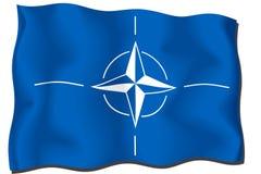 Nato Flag. Waving with satin texture stock illustration