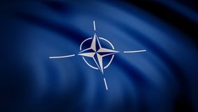 NATO flag. Animation close-up of waving canvas of blue fabric with white symbol in center. Symbol with white four-beam. Star wind rose with divergent white vector illustration