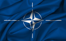 NATO flag waving Royalty Free Stock Photos