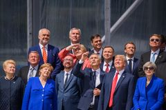NATO leaders, during Official opening ceremony of NATO SUMMIT 2018. 11.07.2018. BRUSSELS, BELGIUM. NATO leaders Official opening ceremony of NATO SUMMIT 2018 stock image