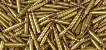 Nato machine gun ammunition cartridges lying on a pile. 3d illustration vector illustration