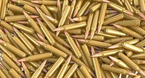 Nato machine gun ammunition cartridges lying on a pile. 3d illustration royalty free stock image