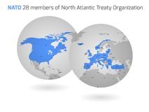NATO member countries globes Royalty Free Stock Photo