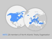 NATO member countries. Marked in two circle maps simbolized two globes royalty free illustration