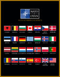 Nato members. Nato member countries alphabetically list with flags Stock Photos