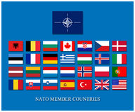 Nato members. Nato member countries alphabetically list with flagsn Stock Images