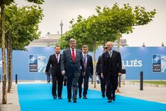 NATO military alliance summit in Brussels. BRUSSELS, BELGIUM - Jul 12, 2018: Ukrainian President Petro Poroshenko during NATO military alliance summit in stock images