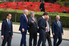 NATO military alliance summit in Brussels. BRUSSELS, BELGIUM - Jul 12, 2018: Ukrainian President Petro Poroshenko and the leaders of states during NATO military stock images