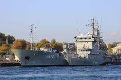 NATO Mine Countermeasures Group. ISTANBUL - AUG 26: Three ships of NATO Mine Countermeasures Group arrive on August 26, 2013 in Istanbul. German contribution to Royalty Free Stock Photos
