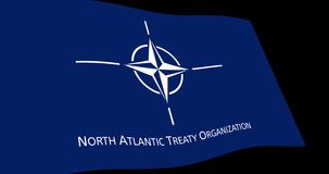 NATO North Atlantic Treaty Organization flag slow waving in perspective, Animation 4K footage stock illustration