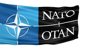 NATO flag waving in the wind stock video