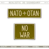 NATO - OTAN. No war. Peace concept. NATO - OTAN. No war. Car license plate stylized. Lettering with the effect stamping Stock Photo