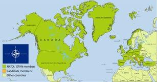 NATO - OTAN organization map stock photo