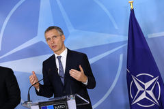 NATO Secretary General Jens Stoltenberg. Brussels, Belgium - January 31, 2017: NATO Secretary General Jens Stoltenberg speaks to the media after meeting royalty free stock image