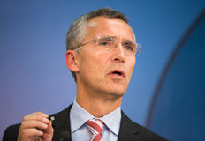 NATO Secretary General Jens Stoltenberg. LVIV, UKRAINE - Sep 21, 2015: NATO Secretary General Jens Stoltenberg during a joint briefing with President of Ukraine Royalty Free Stock Images