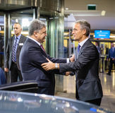 NATO Secretary General Jens Stoltenberg and President of Ukraine. BRUSSELS, BELGIUM - Oct 20, 2016: President of Ukraine Petro Poroshenko during a meeting with stock photos