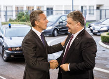 NATO Secretary General Jens Stoltenberg and President of Ukraine. BRUSSELS, BELGIUM - Oct 20, 2016: President of Ukraine Petro Poroshenko during a meeting with royalty free stock photography