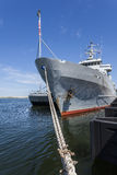 Nato ship in the port of Gdynia. Battleship moored in the port royalty free stock photos