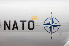 Nato sign. On a military plane stock photos