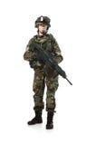NATO-Soldat im vollen Gang. Stockbilder