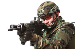 NATO soldier in full gear. stock photos