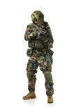NATO soldier in full gear. Military man isolated over white background stock image