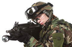 NATO soldier in full gear. Military woman isolated over white background royalty free stock image