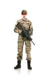 NATO soldier. Military woman isolated over white background stock photo