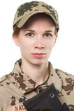 NATO soldier. Military woman isolated over white background royalty free stock photos