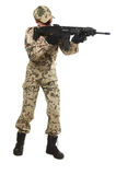 NATO soldier. Military woman isolated over white background royalty free stock photography