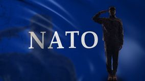 NATO soldier silhouette saluting, intergovernmental military alliance, defense. Stock footage stock video footage