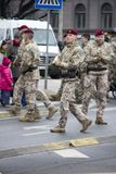 NATO soldiers at military parade in Riga, Latvia. Military army soldiers. November 18, 2017. Parade in honor of proclamation of Latvia at November 18 for the royalty free stock image