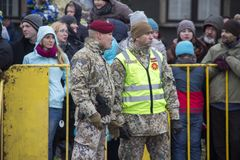 NATO soldiers at military parade in Riga, Latvia. Military army soldiers. November 18, 2017. Parade in honor of proclamation of Latvia at November 18 for the stock photos