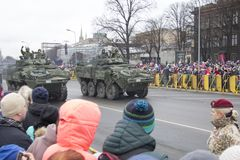 NATO soldiers at military parade in Riga, Latvia. Military army soldiers. November 18, 2017. Parade in honor of proclamation of Latvia at November 18 for the stock photo