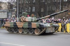 NATO tanks and soldiers at military parade in Riga, Latvia. stock photos