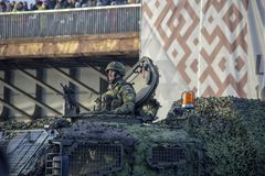 NATO tanks and soldiers at military parade in Riga, Latvia. November 18, 2018. NATO tanks and soldiers at military parade in Riga, Latvia. Celebration of 100 stock photography