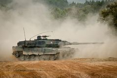 NATO troops ready for international deployment. Troops of the Portuguese army and their Leopard 2A6 MBTs Main Battle Tanks during field manoeuvres with other royalty free stock image
