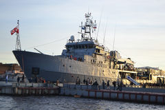 NATO warship. St.Petersburg, Russia - October 12, 2013: NATO warship on the waterfront in downtown St. Petersburg stock photo