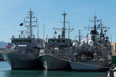NATO warships. MALAGA, SPAIN - MARCH 4:  NATO minesweepers of SNMCMG2 force are moored in the new dock on March 4, 2012 in Malaga, Spain Royalty Free Stock Images